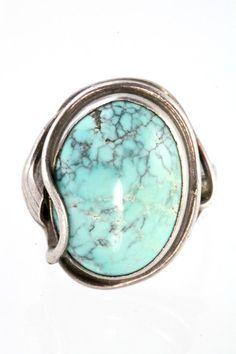 Jugendstil Sterling Silver Spiderweb Turquoise Ring – Yourgreatfinds