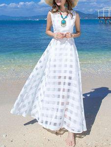 Long White Dress Plaid Organza Sleeveless Beach Dress For Woman - Outfit Ideas Beach Dresses, Casual Dresses, Fashion Dresses, Summer Dresses, Linen Dresses, Woman Dresses, Dress Beach, Long White Maxi Dress, White Dress
