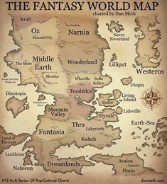 Incredible map of fantasy worlds from children's books