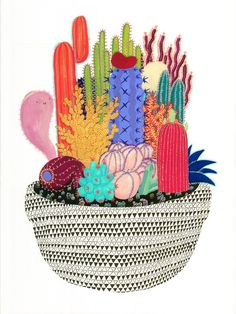What happens to cacti when they die? This colorful and detailed print is filled to the brim with cacti, crystals and a cute cactus ghost. Ghostly