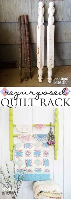 Build a DIY quilt rack using repurposed parts. Prodigal Pieces shows you how! Head here: prodigalpieces.com