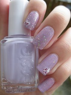 Pinned by www.SimpleNailArtTips.com SIMPLE NAIL ART DESIGN IDEAS - glitter and butterfly stickers
