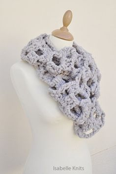 IsabelleKnits - Craft Cafe Super Chunky and Warm Crochet Gray Scarf $50.00