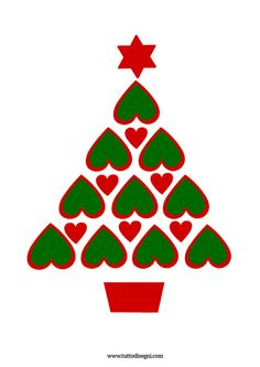 Albero di Natale con cuori - TuttoDisegni.com Christmas Arts And Crafts, Homemade Christmas Cards, Holiday Crafts For Kids, Christmas Activities, Xmas Crafts, Christmas Diy, Christmas Decorations, Christmas Ornaments, Hand Made Greeting Cards