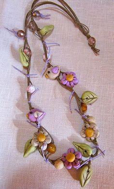 Kedves kis tavaszi nyaklánc Flowers-Birds Fimo Necklace   Flickr - Photo Sharing!