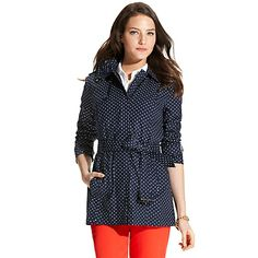 Adorable Navy & White POLKA DOT CLASSIC TRENCH | Tommy Hilfiger USA