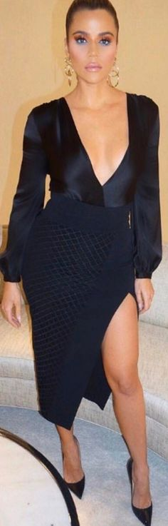 Khloe Kardashian in Earrings – Chanel  Skirt – David Koma  Shoes – Christian Louboutin