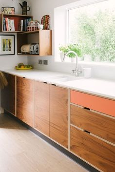 Mid Century Style Kitchen // Wood & Wire // Plywood Kitchen Manufacturers - Mid Century Modern Kitchen // Walnut Veneer Kitchen // Walnut Veneer and Orange Kitchen // Plywood - Modern Kitchen Furniture, Modern Kitchen Design, Interior Design Kitchen, Modern Interior, Eames Design, Design Design, Kitchen Living, Kitchen Decor, Kitchen Colors