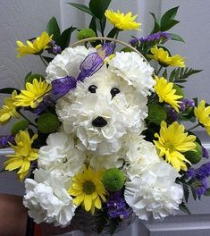 Order Puppy Love Bouquet from A & A Flowers, your local Oxford florist. For fresh and fast flower delivery throughout Oxford, MI area. Grave Flowers, Cemetery Flowers, Funeral Flowers, Puppy Flowers, Cemetery Decorations, Funeral Flower Arrangements, Memorial Flowers, Arte Floral, Deco Table