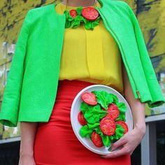 bolsa divertida em formato de prato de salada