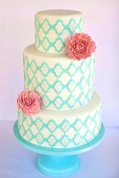 Aqua cake accents with 3 big coral blooms