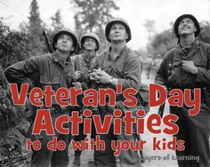 Veterans Day Activities to Do With Your Kids Veterans Day Activities, Kids Learning Activities, Classroom Activities, Classroom Ideas, Middle School Activities, Middle School Science, School Fun, School Ideas, 4th Infantry Division