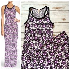 """🎉🎉 HP - Purple tank dress Great summer tank dress in purple geometric print. Scoop neck and racer back. Rayon with 5% spandex, super stretch to hug curves with overall pattern to disguise flaws. Size L, super long at approximately 58"""" total length. NWOT - excellent condition Dresses Maxi"""