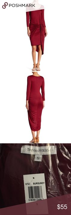 "{Vanity Room} 3/4 Length Sleeve Knot Dress Brand new with tags. Vanity Room burgundy 3/4 length sleeve knot jersey asymmetrical dress. Scoop neck, banded trim, slips on over head. Amazingly well made. Very stretchy! Approx 40"" shortest length, 50"" longest length. Fits TTS. 96% rayon, 4% spandex. ❌NO TRADES❌NO LOWBALLING❌ *only one small and one medium available in burgundy! ** The Vanity Room Dresses Asymmetrical"