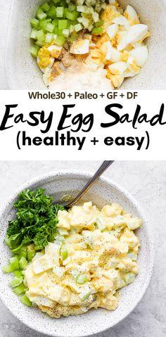 Healthy Egg Recipes, Dairy Free Recipes Easy, Egg Recipes For Breakfast, Healthy Salads, Healthy Salad Recipes, Healthy Egg Breakfast, Dishes Recipes, Paleo Egg Salad, Easy Egg Salad