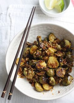 [ Recipe: Brussels Sprouts with Spicy Lemongrass Sauce ] Using brussel sprouts, olive oil, grape seed oil, shallot, lemon grass, red chili flakes, fish sauce, low-sodium soy sauce, raw sugar (or light palm sugar), and fresh lime juice. ~ from SeasonWithSpice.com