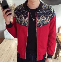 Geometric flower bomber jacket for men plus size clothing