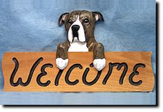 American Staffordshire Terrier Natural - Dog Breed Welcome Sign - Our unique selection of hand painted natural oak Dog Breed Welcome Signs are sure to please the most discriminating Dog Lover! Be the ...
