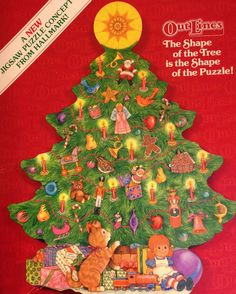 RARE CHRISTMAS PUZZLE ~ Vintage TREE SHAPE Hallmark Springbok Outlines Jigsaw #HallmarkOutLinesSpringbox