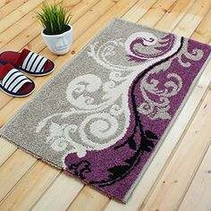 Ustide Grey And Purple Area Mat For Home Kitchen Durable Modern Rug Thick High Quality Doormat