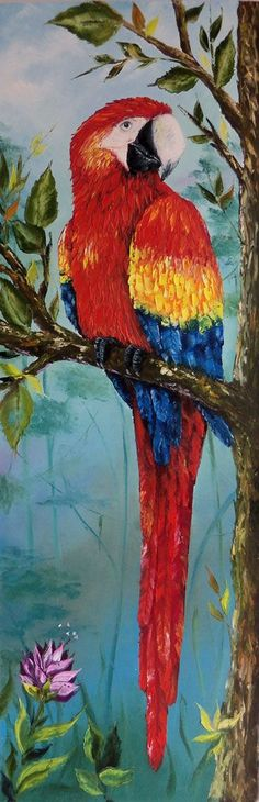 What makes you think I had a fight with a red paint can? Parrot Painting, Painting & Drawing, Bird Drawings, Animal Drawings, Watercolor Animals, Watercolor Art, Tropical Art, Color Pencil Art, Bird Pictures