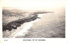 Black and White Vintage Postcard Photograph WWII Okinawa Beach Shore 1940's