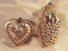 Copper Molds Vintage Jello Colored Aluminum Heart Grapes Pair 2
