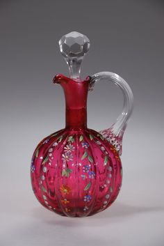 Victorian CRANBERRY Enameled HP Floral Deco Bohemian CRUET w/Stopper Reed Handle