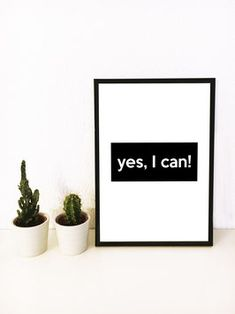 yes, I can! Print Poster, Typo, I Can, Cinema, Interior Design, Prints, Shopping, Nest Design, Movies