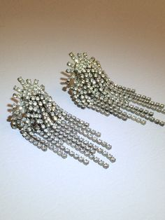Vintage Rhinestone Waterfall Clip Earrings by TwoFireflys on Etsy