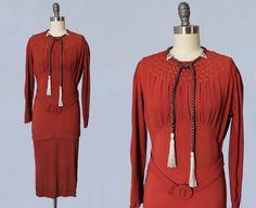 1930s Dress / 30s Rust Crepe Dress / BRAIDED Hair Tassels / Smocked Yoke / Dress Clips / Peplum