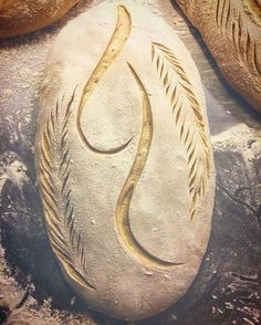 """monogram"" cuts on loaf Artisan Bread Recipes, Sourdough Recipes, Sourdough Bread, Bread Bun, Bread Rolls, Bread Shaping, Fresh Bread, Daily Bread, No Bake Desserts"