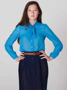 Chiffon Secretary Blouse   Blouses & Shirts   Women's Tops   American Apparel