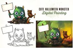 Cute Halloween Monster Holding Sign by pixaroma on Creative Market