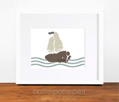 Baby Footprint Sailboat -  Nautical Nursery Art Print  - Personalized Baby Boy Nursery - Boys Rooms Decor - Nautical Nursery Decor