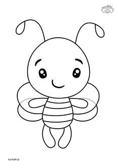 Kolorowanka Pszczółka #naukarysowania #dladzieci #edusiaki #kolorowanki #krokpokroku Dom, Rock Art, Hello Kitty, Valentines, Baking, Fictional Characters, Molde, Drawings, Bee