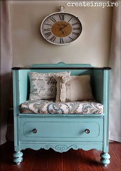Antique Dresser Turned Bench in Covington Blue BM. Lots of pics! Painted Furniture / Makeover / Redo Antique Dresser Turned Bench in Covington Blue BM. Lots of pics! Refurbished Furniture, Repurposed Furniture, Furniture Makeover, Painted Furniture, Dresser Makeovers, Repurposed Items, Reclaimed Furniture, Upcycled Vintage, Furniture Projects
