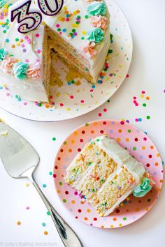 The best confetti birthday cake recipe! Learn how to make this vanilla cake and vanilla buttercream from scratch! Recipe on sallysbakingaddiction.com