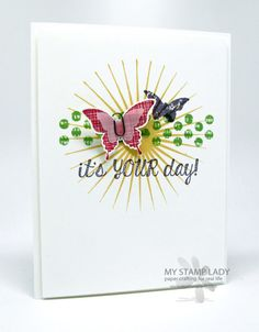 Chris' CAS card: Kinda Eclectic, Fabulous Four, Elegant Butterfly Punch, & more. All supplies from Stampin' Up!
