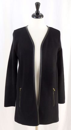 Charter Club S Jacket Career Open Front Gold Zippers Faux Leather Trim Black #CharterClub #Jacket