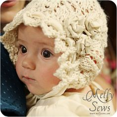 Lace Knit Baby Bonnet is beautiful for a baptism (from Melly Sews).