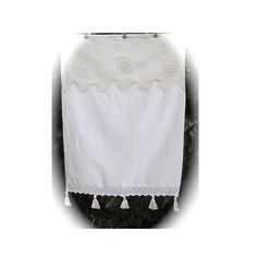 French White Brise Bise Curtain, Crochet Lace, Tassels