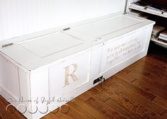 make a storage bench from old doors