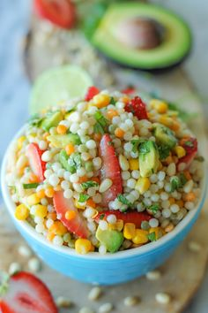 strawberry avocado couscous with lime vinaigrette