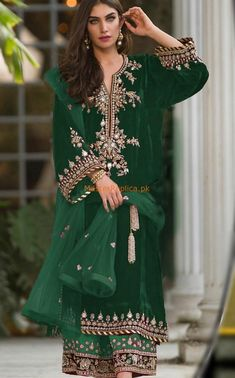 Sana Abbas Velvet Dresses Embroidered Net Dupatta Replica Unstitched Dresses Online Shopping in Pakistan. Pakistani Dresses Online Shopping in Pakistani Fashion Party Wear, Pakistani Wedding Outfits, Pakistani Bridal Dresses, Pakistani Dress Design, Latest Pakistani Fashion, Velvet Pakistani Dress, Pakistani Mehndi Dress, Shadi Dresses, Pakistani Formal Dresses