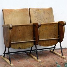 Vintage Cinema Seats  Two seater by GingerandMora on Etsy