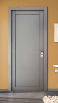 Gray lacquered door in solid blockboard production Cofas by San Marino -Do … Grey Interior Doors, Interior Door Styles, Door Design Interior, Flush Door Design, Room Door Design, House Design, Wood Front Doors, Wooden Doors, Deco Zen