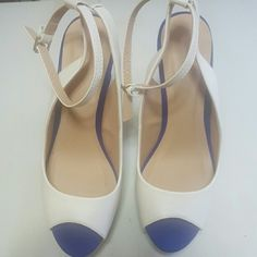Platform Sandals Sexy open toed White/Blue Platform Sandals. New. Can be worn with anything Shoes Platforms