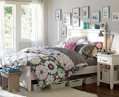 I love the flowers, and how the colors don't pop too much, but it has the right amount of colorfulness. we could find the perfect accent pillows, and choose one of the colors to paint my room.