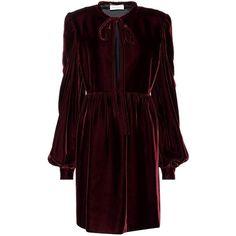 Saint Laurent Long-Sleeved Velvet Dress (9.040 RON) ❤ liked on Polyvore featuring dresses, red, long-sleeve velvet dresses, red long sleeve dress, red velvet dress, longsleeve dress and purple velvet dresses